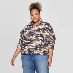 Women's Camo Print Weekend Plus Size 1/4 Zip Sherpa Sweatshirt - Grayson Threads (Juniors') - Green