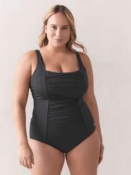 Solid Shirred Tank One-Piece Swimsuit, Sizes 20-24 - Speedo
