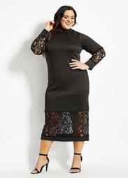 Scuba & Lace Mock Neck Maxi Dress