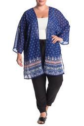 3/4 Sleeve Crisscross Back Printed Kimono (Plus Size)