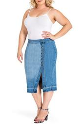 Harley Button Front Denim Midi Skirt (Plus Size)