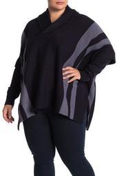 Side Stripe Turtleneck Poncho (Plus Size)