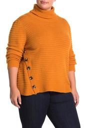 Turtleneck Rib Knit Button Sweater (Plus Size)