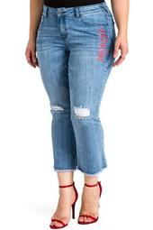 Chinese Character Distressed Crop Flare Jeans (Plus Size)