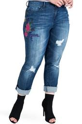 Ex-Boyfriend Distressed Floral Embroidered Jeans (Plus Size)