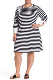 Poplin Cuff French Terry Dress (Plus Size)