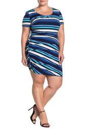 Stripe Side Ruche Dress (Plus Size)