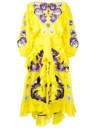 Pansies ruffle trim dress