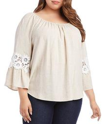 Plus Size Scoop Neck Lace Inset 3/4 Sleeve Peasant Top