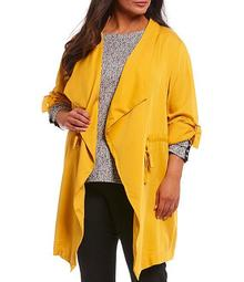 Jones New Plus Size York Soft Twill Drapey Open Front Jacket