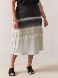 Printed Satin Midi Skirt - Addition Elle