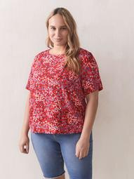 Printed Straight Short Sleeve Blouse - Addition Elle