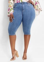 Medium Wash Blue Denim Capri