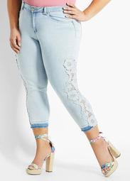 Lace Trim Mid-Rise Crop Skinny