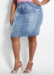 Stone Wash Denim Raw Edge Skirt