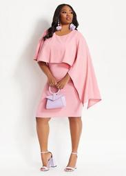 Asymmetric Cape Sheath Dress