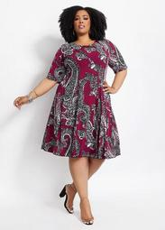 Paisley Lace Up Elbow Sleeve Dress