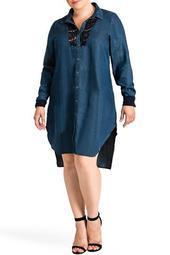 Felicity Lace Trim Tencel Shirt Dress (Plus Size)