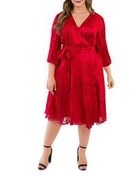 Silk Burnout Wrap Dress