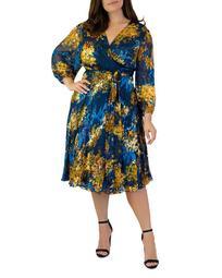 Printed Burnout Wrap Dress