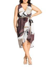 Mirage-Print Wrap Dress