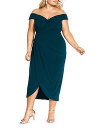 Off-the-Shoulder Draped Dress