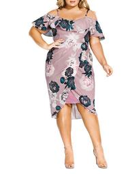 Floral Quartz Off-the-Shoulder Dress