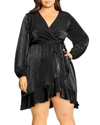 Faux-Wrap Fit-and-Flare Dress
