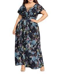 Shadow Floral V-Neck Maxi Dress