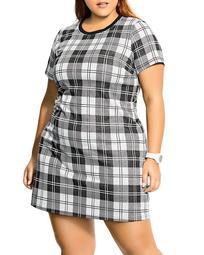Short-Sleeve Plaid Dress
