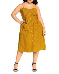 Stripe Touch Button-Front Dress