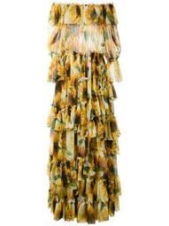 strapless sunflower print tiered dress