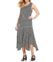 Plus Size Stripe Tie Waist Maxi Dress