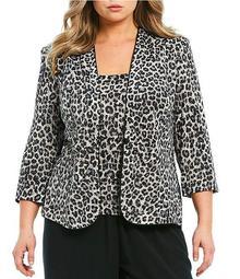 Plus Size Leopard Print Glitter Knit Twinset