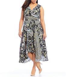 Plus Size Floral Tie Waist A-Line Midi Dress
