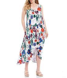 Plus Size Floral Print Sharkbite A-Line Midi Dress