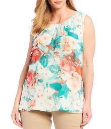 Plus Size Chiffon Floral Print Pleat Neck Top