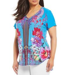 Plus Size Knit Short Sleeve Multi Hi-Low Top