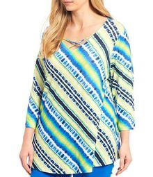 Plus Size Tie Dye Stripe Cage Neck 3/4 Sleeve Knit Top
