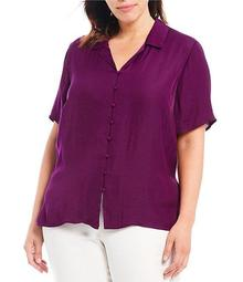 Plus Size Collared Button Down Blouse