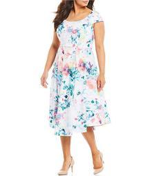 Plus Size Floral Print Cap Sleeve Midi Dress