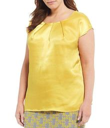 Plus Size Cap Sleeve Jewel Neck Pebble Charmeuse Keyhole Blouse