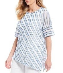 Plus Size Stripe Print 3/4 Sleeve Asymmetrical Hem Top