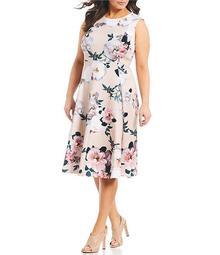 Plus Size Floral Print Sleeveless Midi Dress