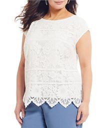 Plus Size Lace Cap Sleeve Blouse