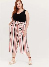Black & Multi Stripe Textured Self Tie Culotte Jumpsuit