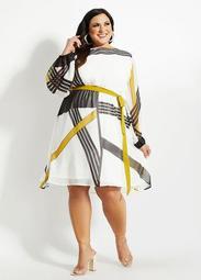 Belted Geo Stripe Chiffon Dress