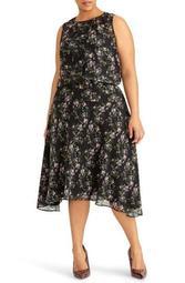 Floral Print Midi Dress (Plus Size)