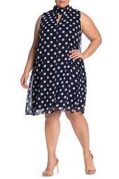 Polka Dot Neck Tie Sleeveless Dress (Plus Size)