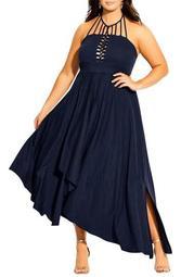 Strappy Asymmetrical Faux Wrap Halter Maxi Dress (Plus Size)